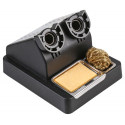 Dual / Twin Soldering iron stand with sponge and brass cleaning ball